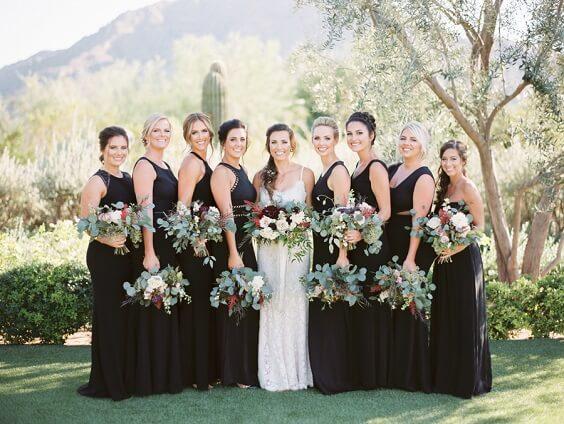 Black bridesmaid dresses for Black and Burgundy winter wedding