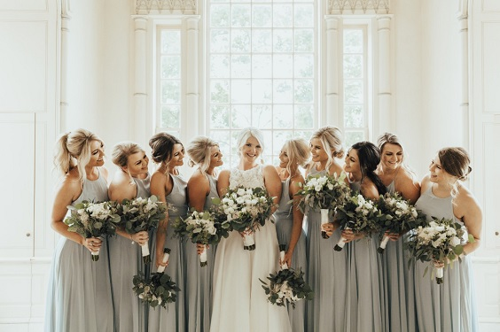 Illusion Blue bridesmaid dresses for Illusion blue and black winter wedding