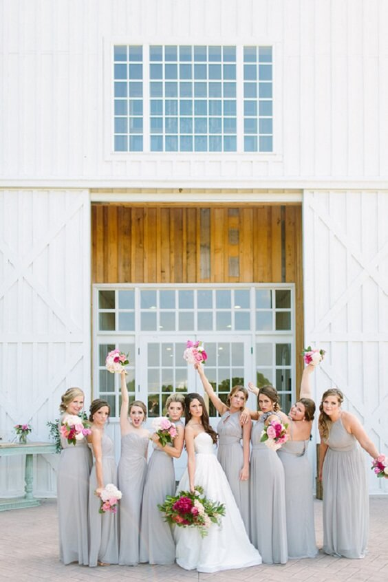 Silver bridesmaid dresses for silver and fuchsia March wedding