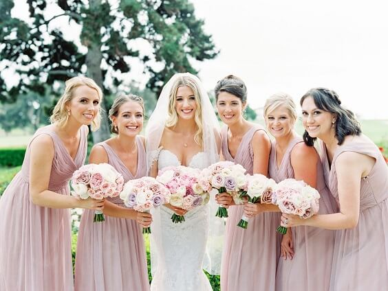 Dusty rose bridesmaid dresses for dusty rose and lavender March wedding