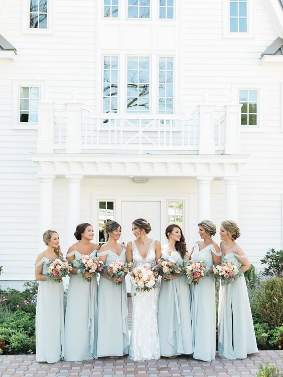 Illusion blue bridesmaid dresses for Illusion Blue and Peach May Wedding 2020