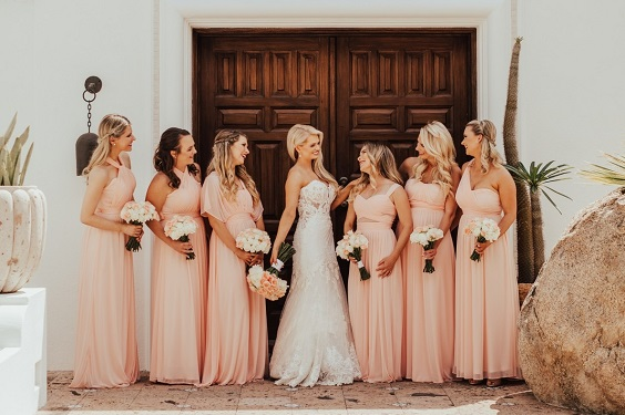 Peach bridesmaid dresses for Peach and White May Wedding 2020