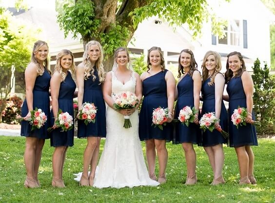 Navy blue bridesmaid dresses for Navy Blue, Coral and Grey September Wedding 2020