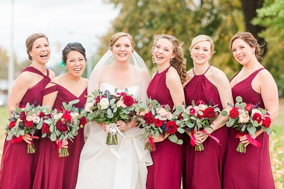 Burgundy bridesmaid dresses for Burgundy, Peach and Blue September Wedding 2020