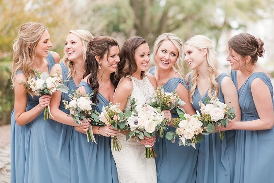 Dusty blue dresses for Dusty Blue, Blush and Deep Blue September Wedding 2020