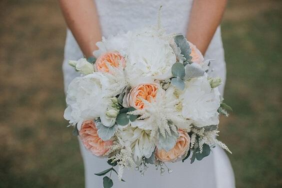 Peach weddin bouquets for Blush, Peach and Navy Blue September Wedding 2020