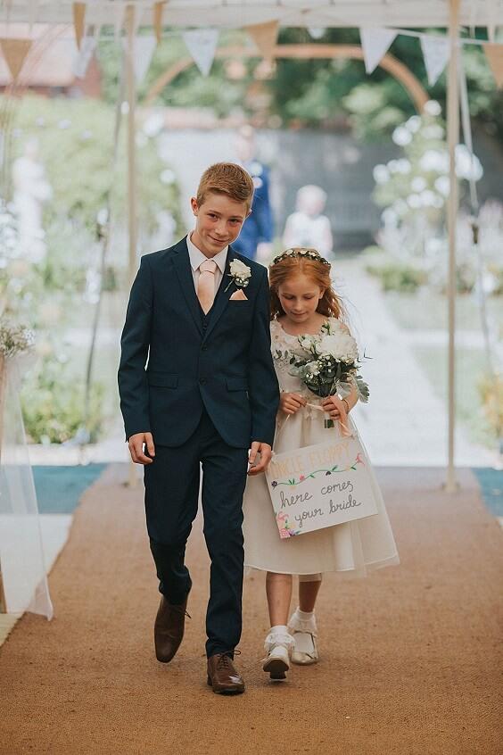 Ring bearer suit flower girl dress for Blush, Peach and Navy Blue September Wedding 2020