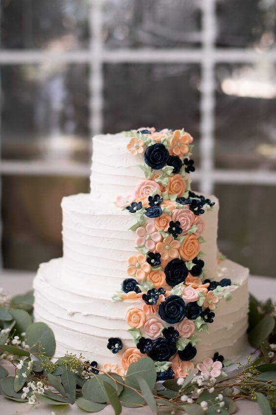 Wedding cake for Blush, Peach and Navy Blue September Wedding 2020