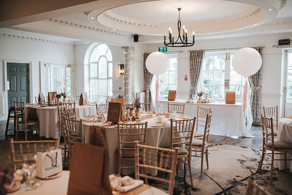 Wedding table decoratins for Blush, Peach and Navy Blue September Wedding 2020
