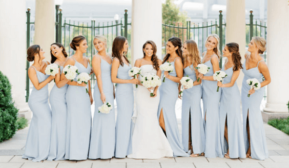 Light blue bridesmaid dresses for Light blue, White and Dark Blue August Wedding 2020