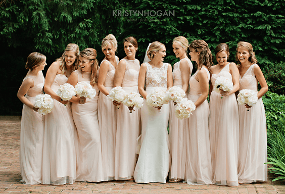 Blush bridesmaid dresses for Blush, White and Dark Blue August Wedding 2020