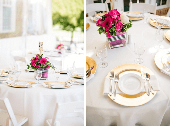 Pink And White Table Decorations  from www.colorsbridesmaid.com