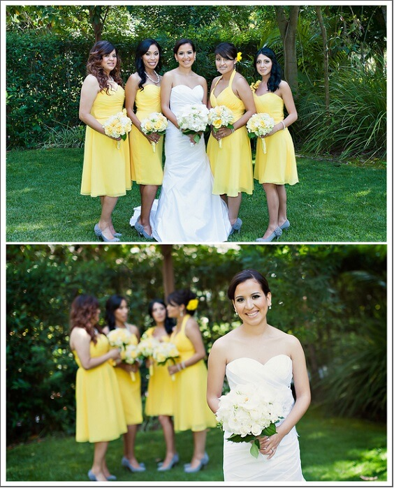 Yellow bridesmaid dresses for Yellow, White and Grey August Wedding 2020