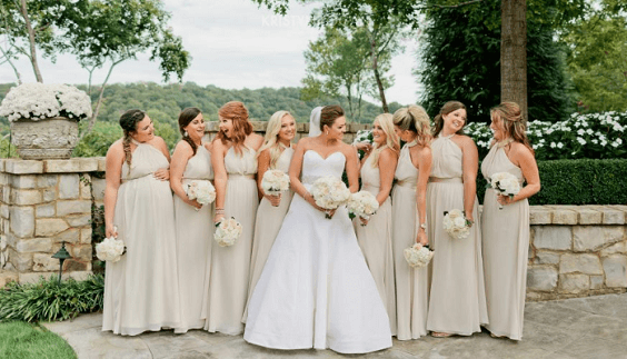 Champagne bridesmaid dresses for Champagne, White and Navy Blue August Wedding 2020