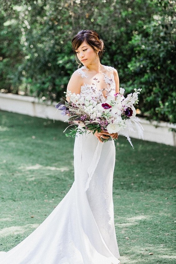 White bridal gown for Light Purple, Eggplant and Navy Blue October Wedding 2020