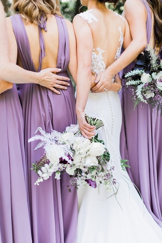 Light purple bridesmaid dresses for Light Purple, Eggplant and Navy Blue October Wedding 2020