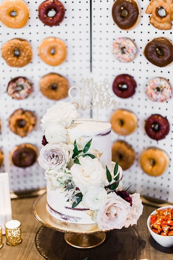 Donuts cakes for Light Purple, Eggplant and Navy Blue October Wedding 2020