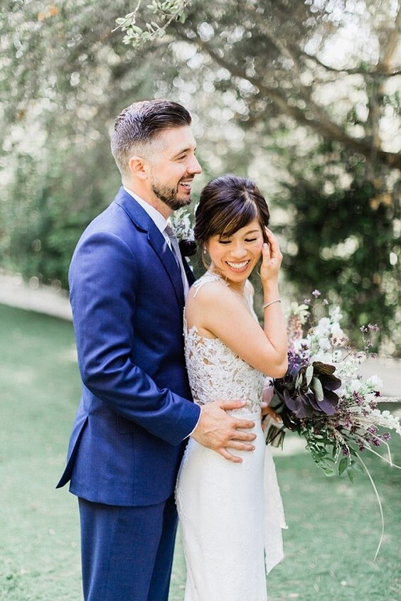 Navy blue groom attire for Light Purple, Eggplant and Navy Blue October Wedding 2020