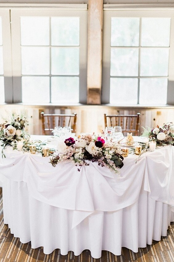 Table decorations for Light Purple, Eggplant and Navy Blue October Wedding 2020