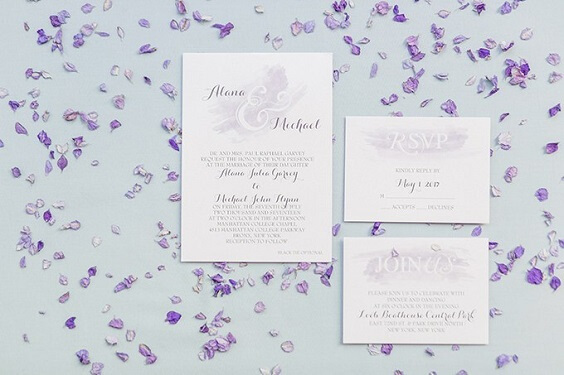 Wedding invitations for Light Purple, Eggplant and Navy Blue October Wedding 2020