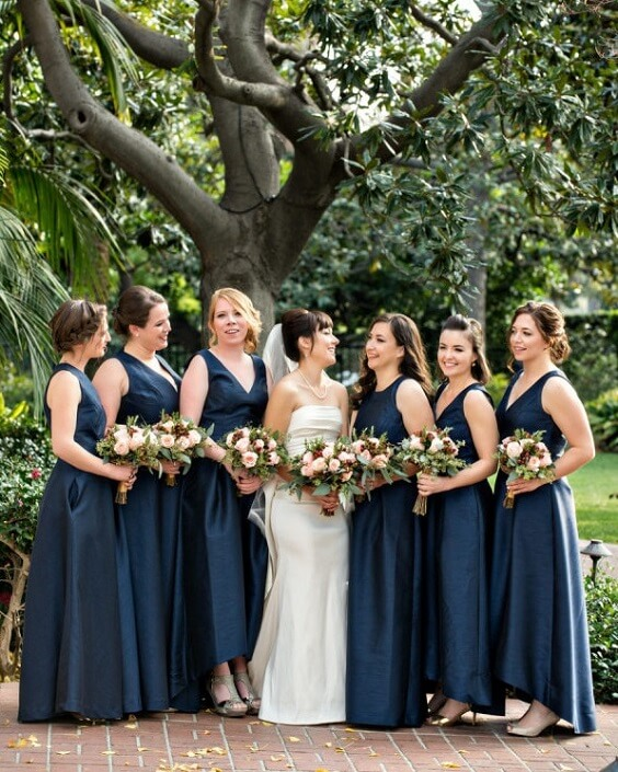 Navy blue bridesmaid dresses for Navy Blue, Berry and Grey October Wedding 2020
