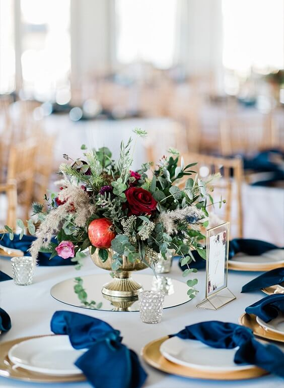 Wedding table decorations for Navy Blue, Berry and Grey October Wedding 2020
