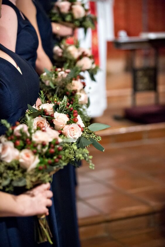 Wedding bouquets for Navy Blue, Berry and Grey October Wedding 2020