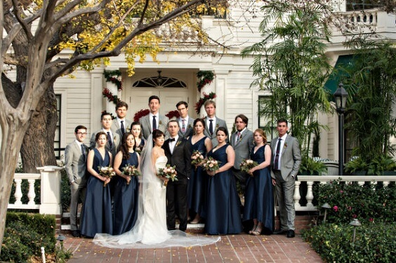 Wedding party wearing for Navy Blue, Berry and Grey October Wedding 2020