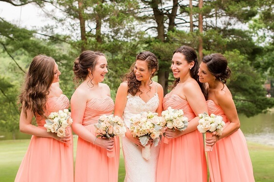 Peach bridesmaid dresses for Peach, Mint Green and Grey October Wedding 2020