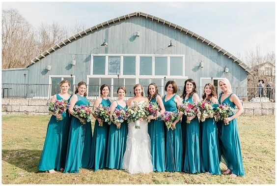 Teal bridesmaid dresses for Teal, Grey and Pink October Wedding 2020