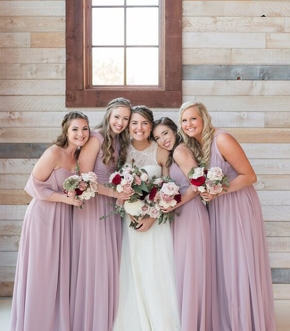 Dusty rose bridesmaid dresses for Dusty Rose, Burgundy and Grey October Wedding 2020