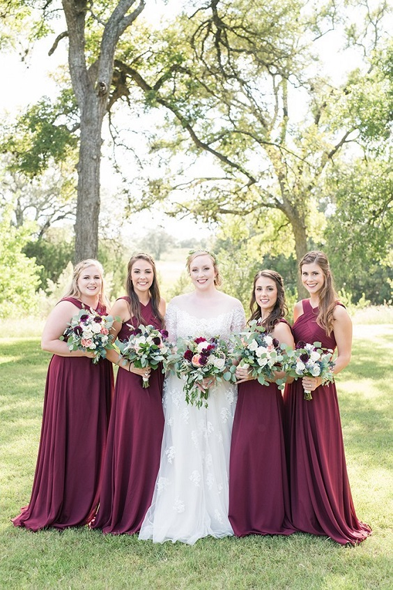 Bridesmaid dresses for Burgundy, Peach and Navy Blue October Wedding 2020
