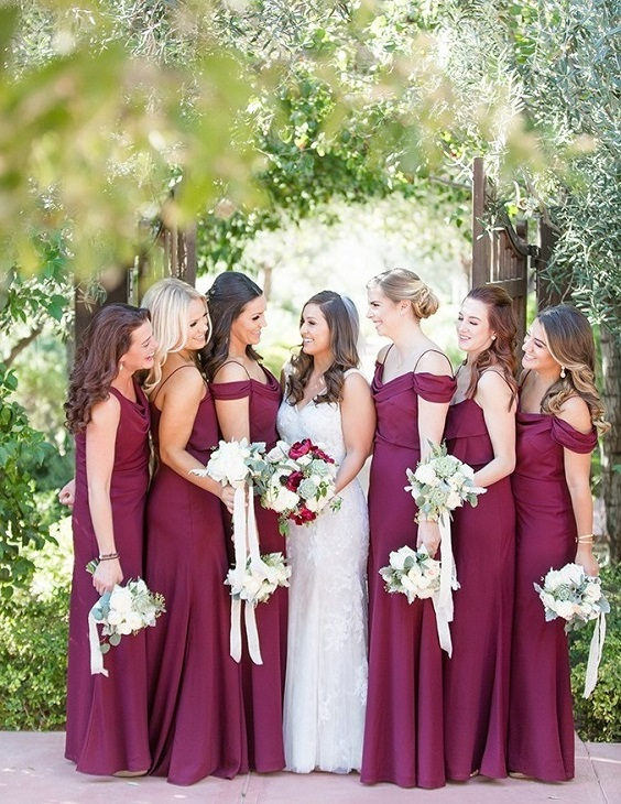 Burgundy bridesmaid dresses for Burgundy, Peach and Navy Blue October Wedding 2020