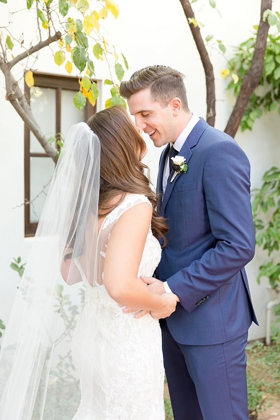 Navy blue suits for Burgundy, Peach and Navy Blue October Wedding 2020