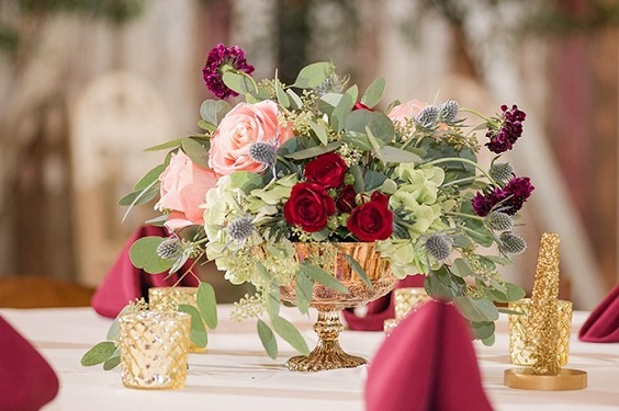 Table decoratins for Burgundy, Peach and Navy Blue October Wedding 2020