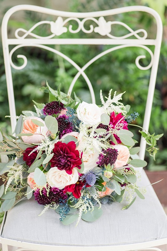 Wedding bouquets for Burgundy, Peach and Navy Blue October Wedding 2020