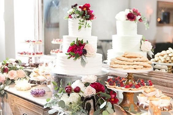 Wedding cake for Burgundy, Peach and Navy Blue October Wedding 2020