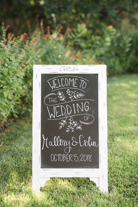 Wedding direction board for Burgundy, Peach and Navy Blue October Wedding 2020