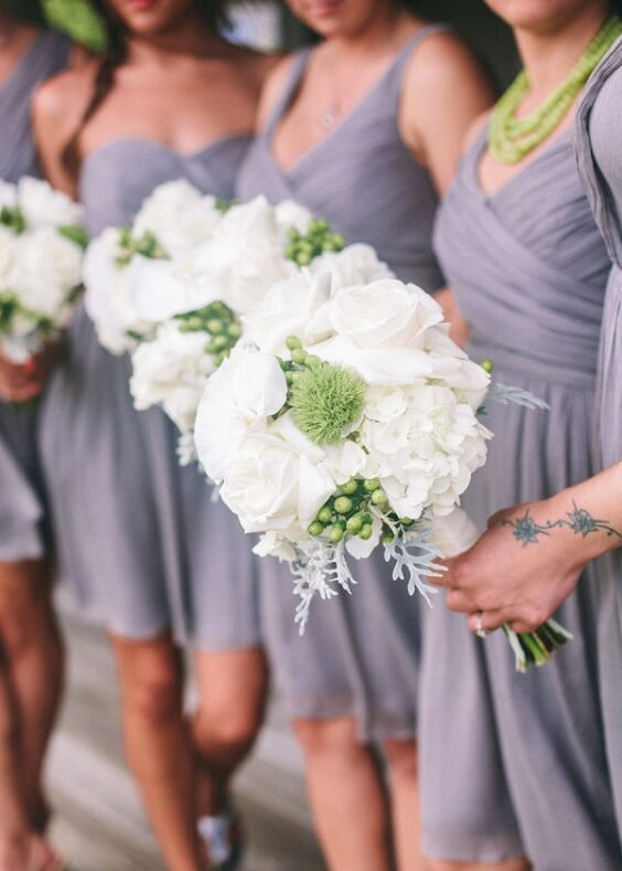 Grey Bridesmaid Dresses for Grey, White and Navy Blue July Wedding 2020