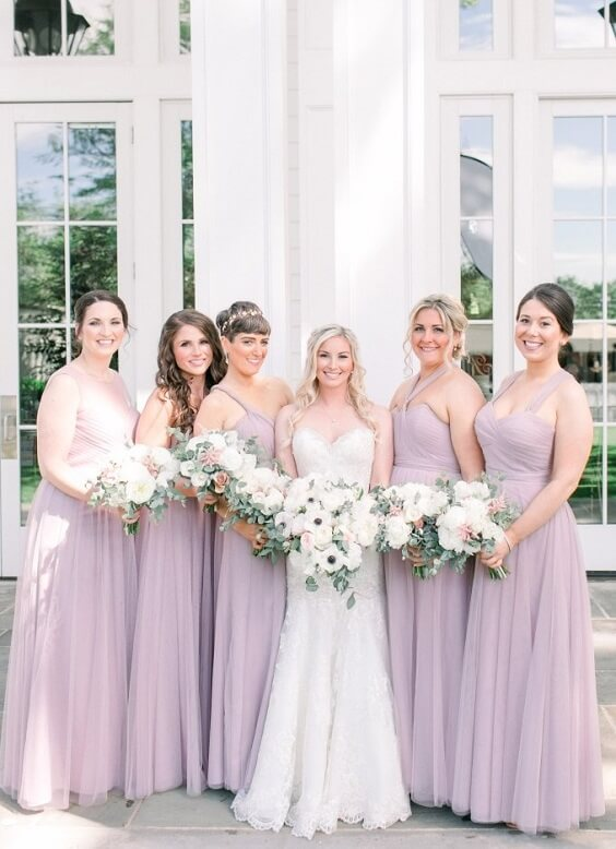 Lavender, Blush and Grey July Wedding 2020, Lavender Bridesmaid Dresses, Grey Groom Suit