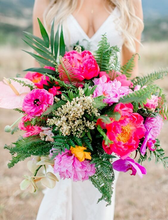 Fuchsia bouquets for Yellow, Fuchsia and Navy Blue July Wedding 2020