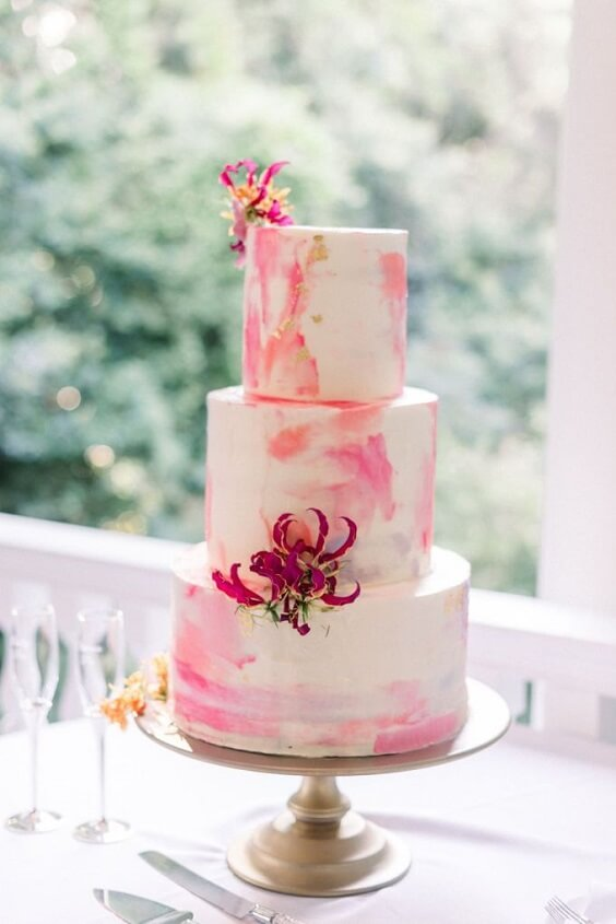 Wedding cake for Yellow, Fuchsia and Navy Blue July Wedding 2020