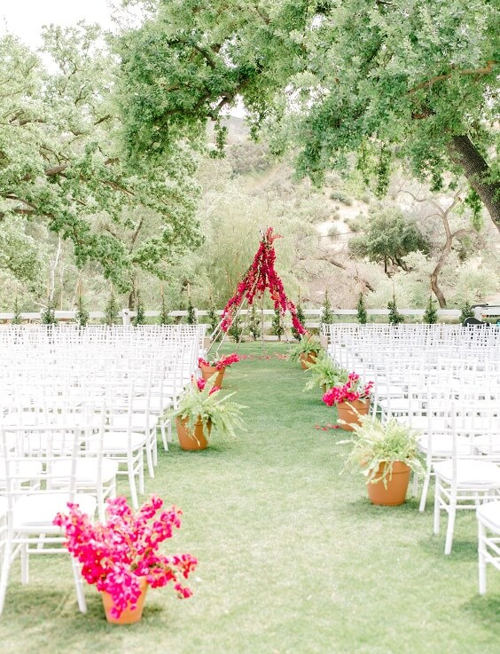 Wedding ceremony decorations for Yellow, Fuchsia and Navy Blue July Wedding 2020
