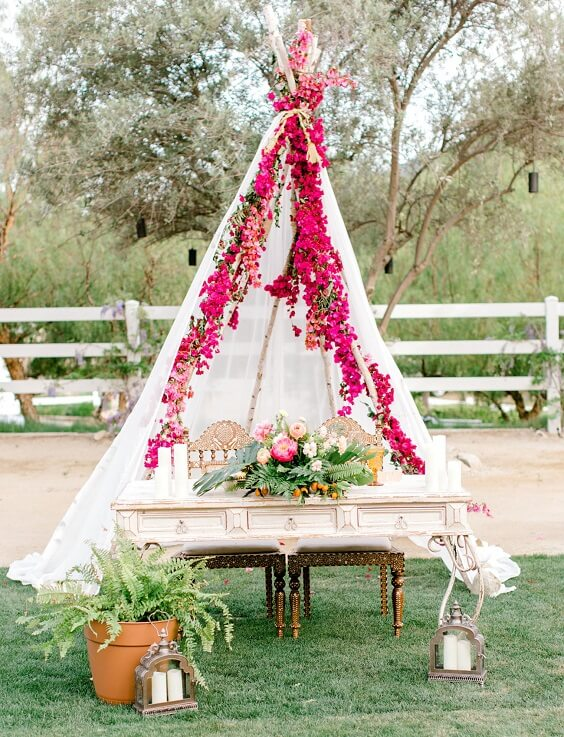 Wedding decorations for Yellow, Fuchsia and Navy Blue July Wedding 2020
