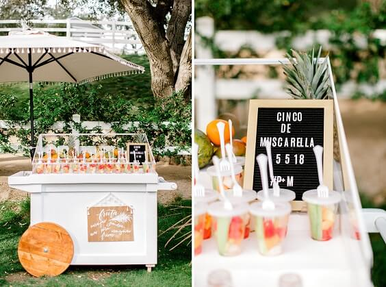 Wedding fruits for Yellow, Fuchsia and Navy Blue July Wedding 2020