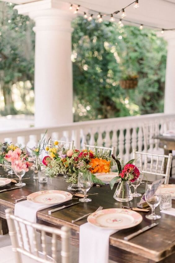 Wedding table decorations for Yellow, Fuchsia and Navy Blue July Wedding 2020