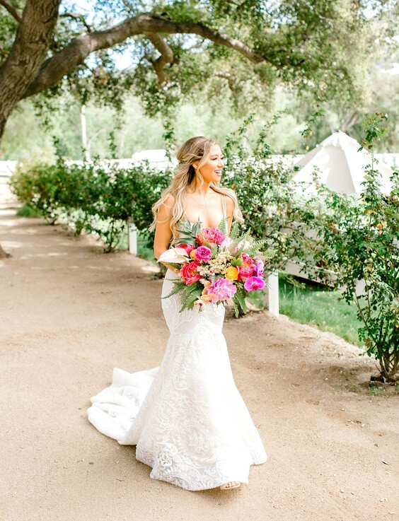 White Bridal Gown for Yellow, Fuchsia and Navy Blue July Wedding 2020