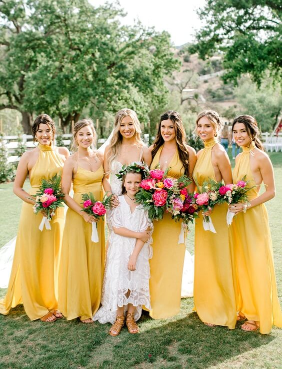 Yellow, Fuchsia and Navy Blue July Wedding 2020, Yellow Bridesmaid Dresses, Fuchsia Bouquets