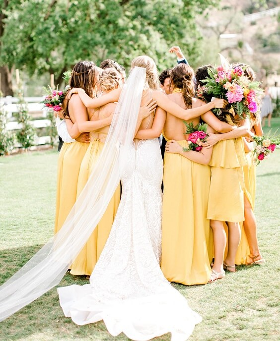 Yellow Bridesmaid Dresses for Yellow, Fuchsia and Navy Blue July Wedding 2020