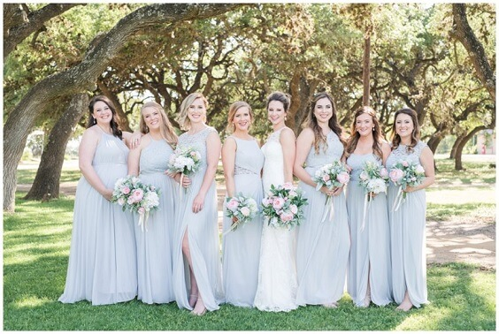 Light Blue, Blush and Deep Blue July Wedding 2020, Light Blue Bridesmaid Dresses, Blush Bouquets